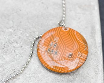 SALE Last one left - Orange circuit board round necklace