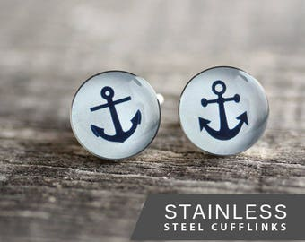 Anchor cufflinks, Surgical steel cuff link, Nautical Cuff links,  Sailor light blue cuffs, Wedding cuff links for groom, groomsmen