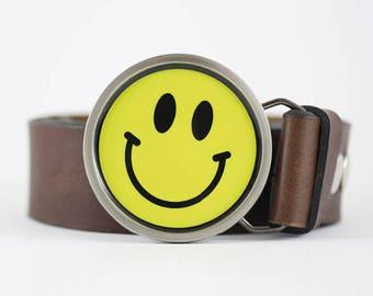 Smiley Belt Buckle, Emoji belt buckle, happy face belt buckle circle belt buckle yellow belt buckle funny belt buckle gift for her