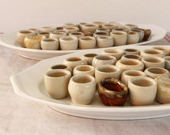 French Vintage Snail Pots with Platter...listing is for ONE Platter of 29 pots...Iron Stone Platter, 29 hand made pots.