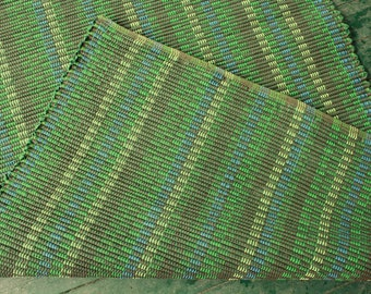 30 x 60 handwoven green cotton rug