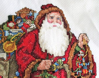 Vintage Cross Stitch Santa Hand Made Pillow Wall Hanging