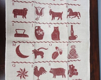 Linen Country Inspired Tea Towel Animals and Alphabet