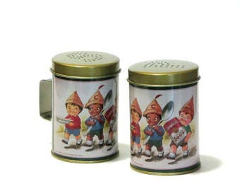 Campbell's Soup Kids Tin Salt and Pepper Shakers 1995 Collectible Advertising Repro Kitchen Condiment Americana Decor