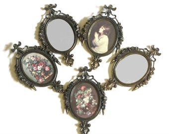 Italian Framed Rococo Mirrors and Petite Prints Antiqued Brass Framed Under Glass Portrait and Still Life Instant Collection Ready To Hang