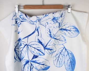Runner,Table top ,Home decor, natural cotton , Blue ,  leaves