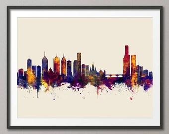 Melbourne Skyline, Melbourne Australia Cityscape Art Print (3052)