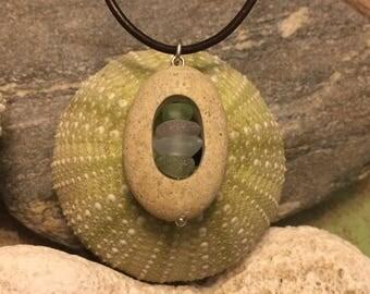 Sea glass jewelry- colored sea glass set in a beach stone.
