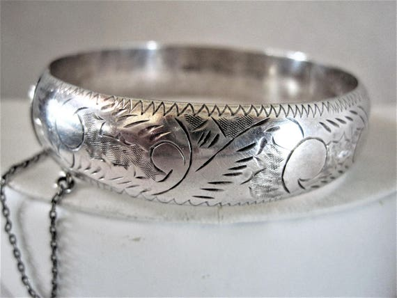 Sterling Silver Bracelet -  Wide Etched Trim -  Hinged with Safety Chain - Sterling Bangle