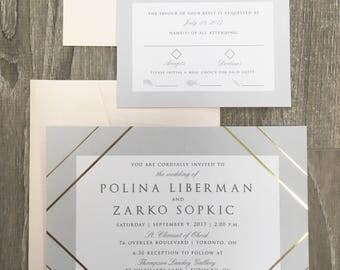 Gold Foil Stripe and Grey Modern Wedding Invitation