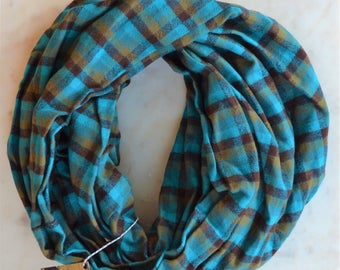 Teal brown and tan super soft and plush flannel cowl