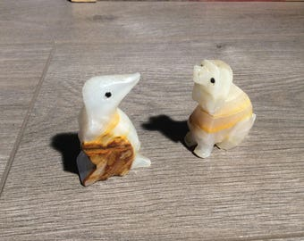 Penguin and Dog Onyx Figurines set of 2