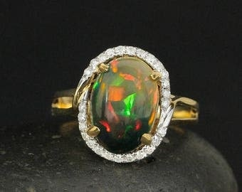 ON SALE Solid Australian Black Opal Diamond Halo Heirloom Ring - 18Kt Yellow Gold - One of a Kind