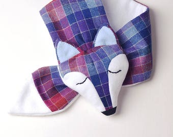 Fox Kids Animal Scarf Kozipals - Limited Edition Multicolor Plaid / White