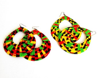Earring Fab - African Kente Print Oversized Wrapped Hoops