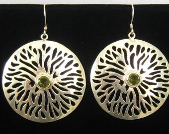 SALE Large Round Sterling Silver Drop Earrings with Cut out Design and Bezel Set 5 mm Green Peridot in the Center.  Mildly Domed.