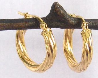 """14K Gold Hoop Earrings. Signed """"14 Kt"""" & """"Italy"""".   Hollow Hoops Look Like 4 Twisted Tubes of Gold Formed Each Hoop.  7/8"""" L x 7/8"""" W."""