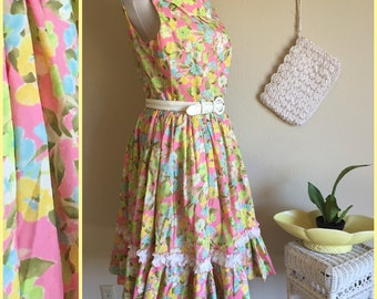 60s Sleeveless Summer Day Dress - Womens XL 14 - Fit and Flare Dress - Pastel Floral Day Dress - 50s 60s Midcentury - Mad Men Betty Draper