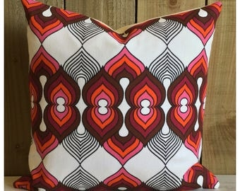 Vintage 70s Pink & Purple Fabric Cushion Cover  Retro Throw Pillow Cover