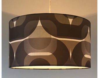RESERVED- Retro 70s Black Grey  Geometric Wallpaper Lightshade Lampshade 35cm