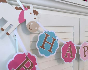 Pony Banner/Horse Birthday Banner/ Pink/ Turquoise/ Western Party/ Equestrian Party/Birthday Supplies/Custom Name Banner