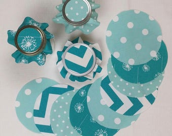 Teal & Turquoise Mixed Jar Toppers, Fabric Circles for Canning, Gift in a Jar, YoYo, FREE Shipping