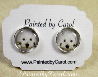 West Highland White Terrier Earrings, Westie Earrings, Westie Jewelry, Westie Gifts, Westie Mom Gifts, Gift for Westie Mom, Westie Studs