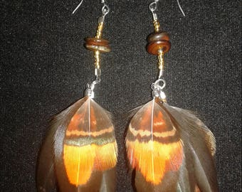 Orange, yellow and black feather earrings.