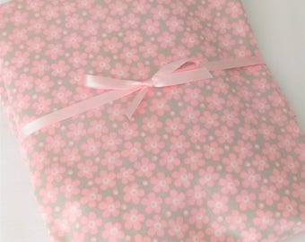 Crib Sheet, Baby Girl Pink and Gray Floral Cotton Fitted Crib Sheet