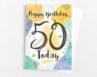 50th Birthday Card  - Happy Birthday 50 Today - Birthday Card - Happy 50th  Birthday - 50th Card