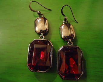 Vintage Boho Amber and Silver Square Earrings