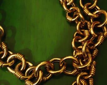 Vintage 1980s Boho Chic Gold Chain Link Double Strand Necklace