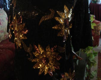 Vintage 1997 Boho Chic Black Sequin Burst of Gold Floral Top