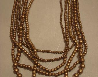 RESERVED Angie Vintage Antique Gold Bronze Tone Beaded Necklace