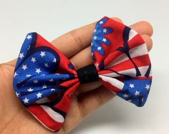Patriotic bow tie collar attachment for cats and small dogs, american flag bow tie for pets