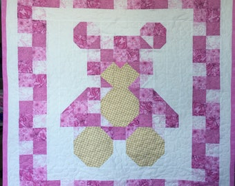 Teddy Bear Quilt, Baby Girl Quilt, Wall Hanging,  Baby Girl Blanket, Pink, White, Teddy Bear, Quiltsy Handmade