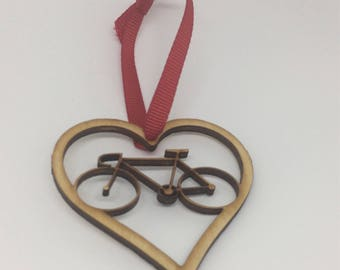 Bicycle Ornament Heart Love Bicycling Gifts Christmas Ornament