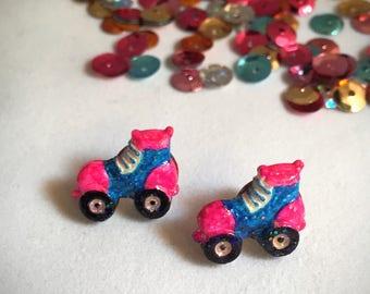 Roller Skate Stud Earrings, Nickel-free Posts, Blue and Pink, Hand Painted