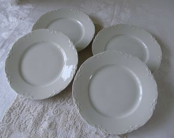 Vintage Scalloped Luncheon Plates Embossed (4) Four, Vintage Hutschenreauther White China, White Wedding China,Mix and Match Vintage China