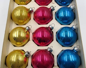 Vintage 12 Mercury Glass Christmas Ornaments, 1950s Coby Glass Glitter Christmas Ornaments,Vintage Blue Pink Gold Ornaments Made in USA