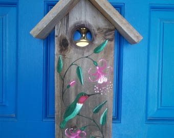 """Birdhouse Wall Hanging, Rustic wood Birdhouse, Hummingbird, Door Hanger, Patio Decoration, Garden Decor, Handmade Birdhouse 14 1/2"""" x 9"""""""