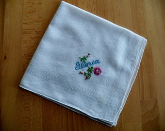 """Vintage 1950's Hankie with Personalized Embroidery  """"GLORIA"""""""