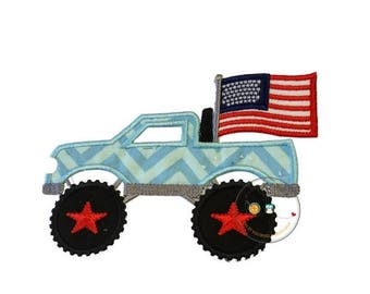 ON SALE NOW Patriotic monster truck fabric iron on applique, Embroidered red, white and blue monster truck, July 4th pick up truck iron on p