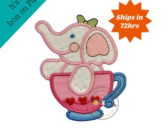 Large pink elephants tea party- iron embroidered fabric applique patch embellishment- ready to ship
