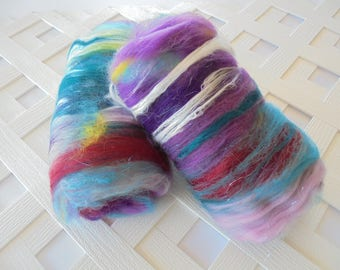 Art Batts, BOUQUET, Luxury Spinning Batts, Carded Batts for Spinning, Batts for Felting, Soft Merino Art Batts, Silk Art Batts, Alpaca Fiber