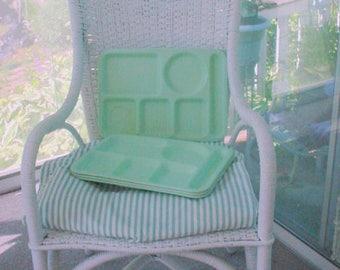 Retro Melmac Trays  Green Luncheon Tidbit Candy Cottage chic