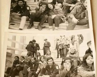 Lot of 2 Vintage 1969 Vietnam Moratorium Anti War March on Washington DC Police Protest, Black and White Investigation Photographs Teenagers