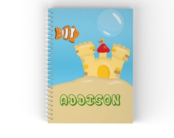 Fish Personalized Notebook - Fish Bowl Fish Sea Ocean Scene with Name, Customized Spiral Notebook Back to School