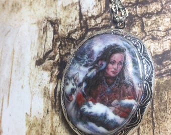 Native Tribal Maiden Wolf Porcelain Cameo Locket Necklace