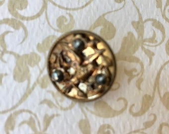 Beautiful Victorian Button with Bird Motif and Cut Steel Beads